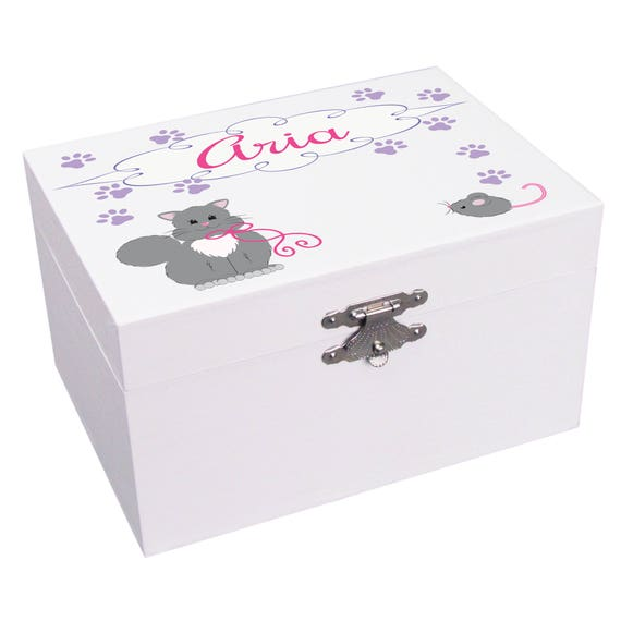 Personalized Musical Ballerina Jewelry Box for Girls in Teal