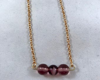 Purple Beaded Bar Necklace, Beaded Bar Necklace, Round Beaded Bar Necklace