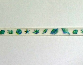 Aqua Sea Shells Super Slim Washi Tape. Beach Skinny Washi Tape. 5mm by 7m. Planner Tape, Masking Tape, Planner Supplies