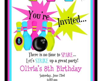 Bowling Invitations, Bowling Birthday Party, Cosmic Bowling invitations, BIrthday Party , Children, Girls