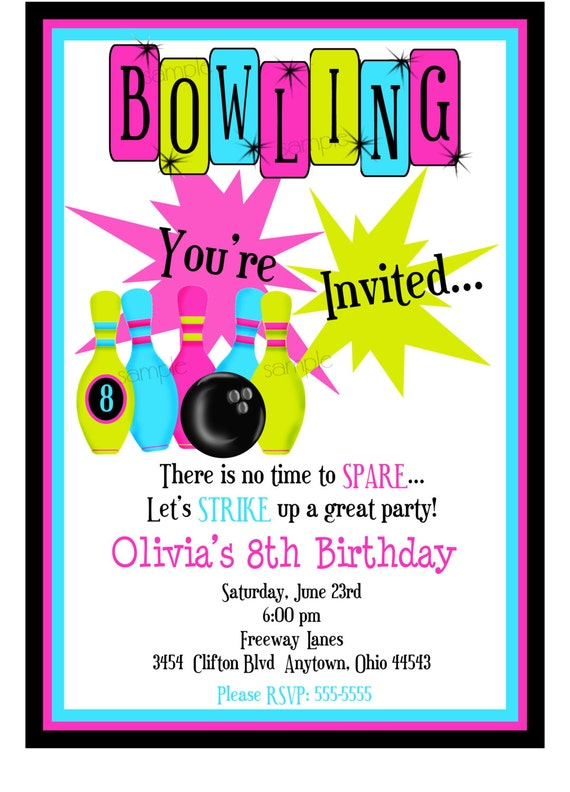 Bowling invitations bowling birthday party cosmic bowling filmwisefo Choice Image