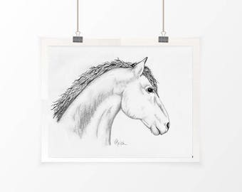 Horse Print 1, Farmhouse Decor, Horse Sketch, Rustic Home Decor, Horse Art, Horse Drawing, Rustic Wall Art, Sketch Print, Farm Wall Art