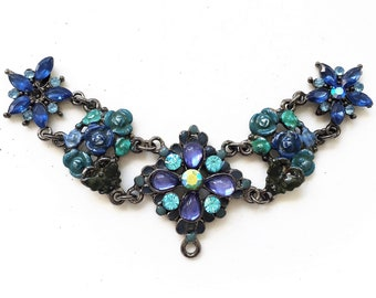 vintage inspired salvaged black metal blues rhinestone and enameled flowers connected components for bib necklace