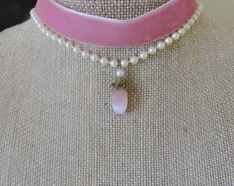 "5/8"" pink velvet choker with second pearl bead strand with drop pink stone pendant"