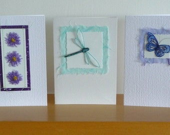 Set of 3 original textile art cards – machine embroidery, dragonfly, flowers, butterfly