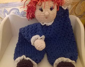 Plush blue Mercerized cotton and red hair