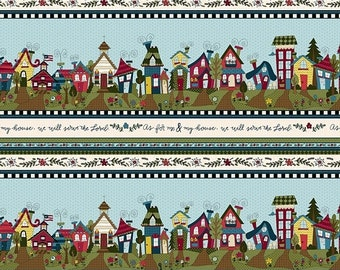 20% off thru Apr 24th COVERED IN TRUTH Henry Glass  quilters cotton fabric by the yard border stripe-As for me and my house we will serve th