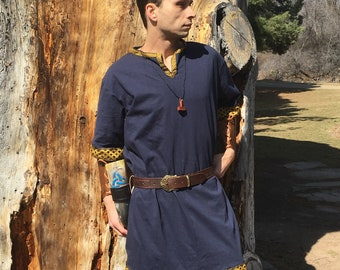 Viking Tunic - Keyhole Neckline - Viking Garb - Viking Clothing - Viking Costume - Your Choice Size, Color, & Trim - Made to Order