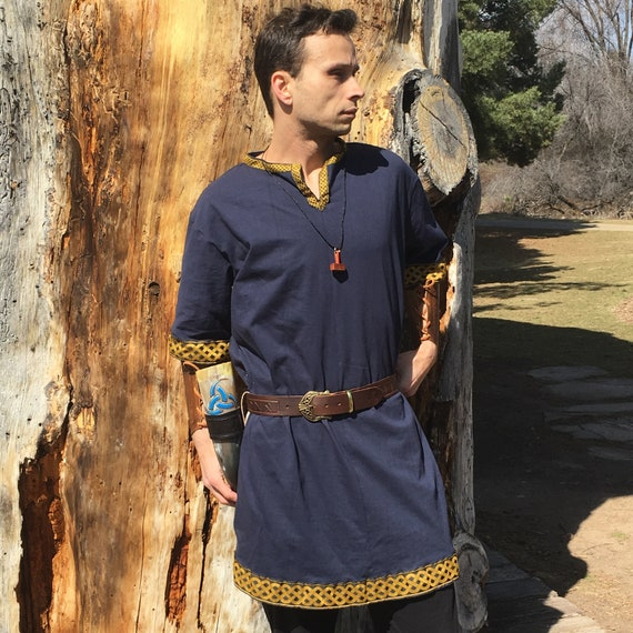 Viking Tunic - The Traveler - Made to Order - Your Choice Size, Color, Embroidery, & Trim - Inset with Long Sleeves - Viking Clothing