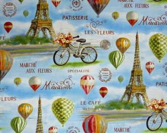 Wilmington Prints - Le Cafe - 89166 - Paris Eiffel Tower, Bicycle with Flower Basket, Hot Air Balloons  - One Yard of Fabric