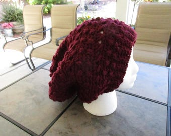 Super Slouchy Beanie in Deep Red