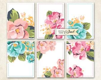 Zeitschrift-Karten - Pastell Blume - Projekt Life - digitale Collage Blatt - Satz von 6 Karten - Druckversion herunterladen