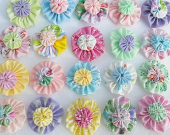Fabric Flowers Hair Clip 40 Pinwheel PASTEL Cupcake Toppers  Bobby Pin Barrette Card Making Scrapbook YoYo Quilt Headband Embellishment