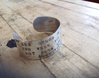She Stood in the Storm Hand-Stamped Metal Cuff Bracelet