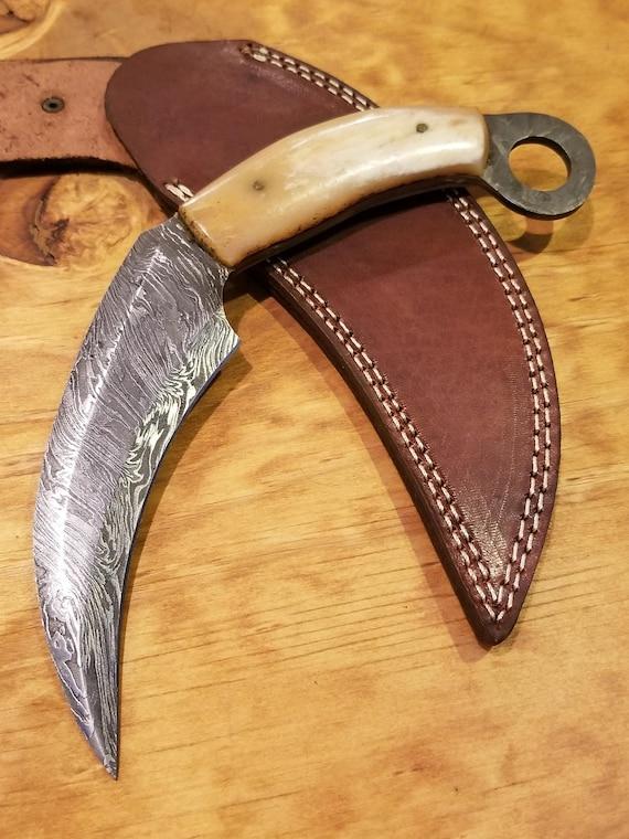 Handmade Bone Handle Scythe Hunting Knife Damascus Blade Collection With Sheath Premium Karambit (A301)