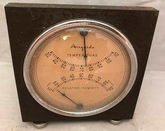 "Vintage Fee and Stemwedel Airguide Desktop Thermometer & Relative Humidity Indicator - 4.5"" Square"