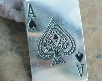 Ace of Spades belt buckle, silver toned gift for him, rectangle buckle, card pocker massive accessory