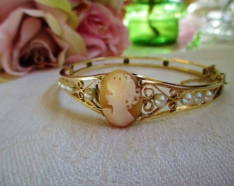 Victorian Cameo And Pearl Hinged Antique Bracelet Antique Cameo Bangle Bracelet