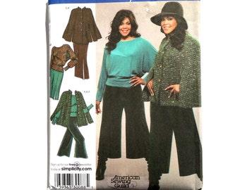 Simplicity 3991,  Women's Cape, Top, Gauchos and Skirt Pattern, Plus Size Pattern, Size 18W, 20W, 22W, 24W, Uncut Pattern