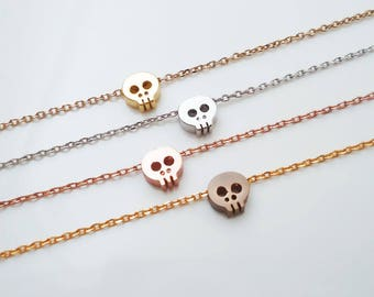 4.Cute, Glossy, Skull Pendant Necklace,Tiny Skull Necklace, Dainty Layering Necklace, Mini Skull Necklace - choose your length.