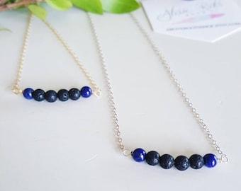 Lapis Lazuli Lava Bar Necklace, Diffuser Necklace, Lava Necklace, Aromatherapy Jewelry, Essential Oil Jewelry, Bar Necklace, Lava Jewelry