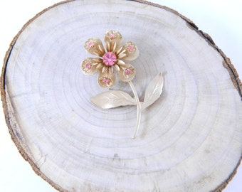 Vintage 1950s - 1960s Brooch / Pin...Gold & Pink Flower Rhinestone Brooch...Floral Mid Century Mod...Retro Costume Jewelry