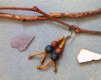 Wood earrings rocallies hippie bohemian