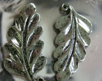 Clearance Antique Silver Ox Plated Leaf  Charms 614SOX x2