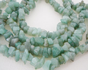 Gemstone Beads, Chips, aventurine Green strand