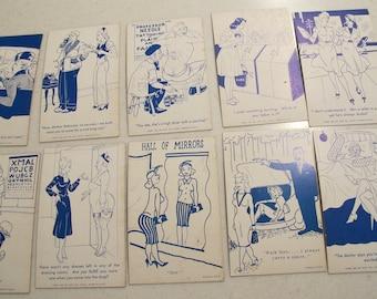 10 Vintage Cartoon Blue & White 1941 Unused Postcards Risque