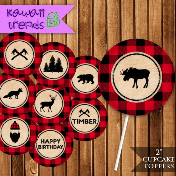 Lumberjack Party Cupcake Toppers Plaid Printable Party