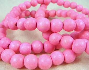 "Pink Wooden Beads - 8mm Round Wooden Beads, Bright Pink Beads (9461) - 16"" Strand"