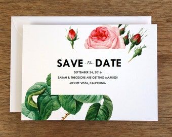 Printable Save the Date Card - Save the Date Template - Instant Download - Save the Date PDF - Pink Vintage Roses - Pink Rose Save the Date