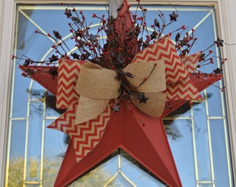 """18"""" Rustic Red Star Pocket with Burlap Chevron ribbon and Star berry picks,Metal Star Pocket,Star Pocket Floral"""