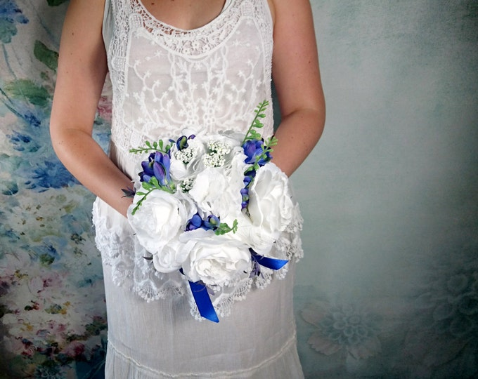 White silk hydrangea rose royal blue freesia wedding BOUQUET flowers satin ribbon bridesmaid best quality winter summer spring