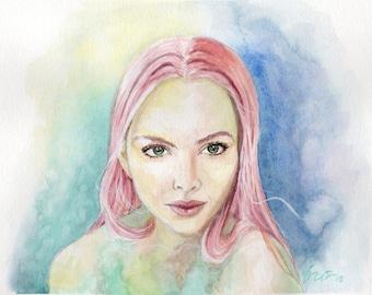 Amanda Seyfried Inspired Watercolor Portrait Painting. Art Print.