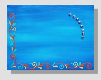 Tableau magnétique bleu. Peinture décorative à l'acrylique sur châssis magnétique entoilé. Pense-bête bleu avec aimants. Porte-photos.