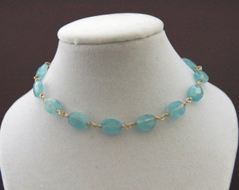 Wire linked Aquamarine and Sterling Silver Bracelet