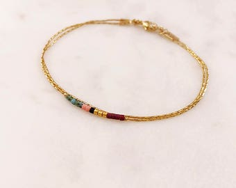 Minimalist Delicate Bracelet with Tiny Beads / Thin Dainty Colorful Gold Chain Bracelet / Multicolor Boho Friendship Bridal Bracelet