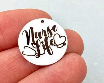 Nurse Life charm, polished stainless steel, jewelry making supply charms, DIY, bulk charms,
