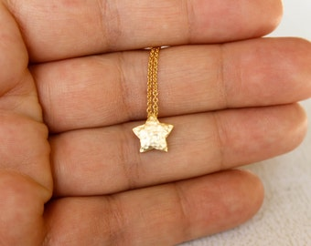 Hammered Star Necklace, Available in SIlver and Gold