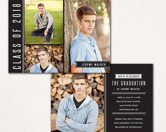 Graduation Announcement Template - Photoshop photo card template - INSTANT DOWNLOAD - Simple Classic CG043