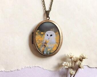 White Barn Owl Locket - Fine Art Bird Photography Brass Photo Locket Necklace