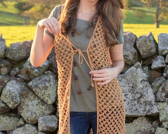 CROCHET PATTERN - Whispering Birch Bohemian Vest
