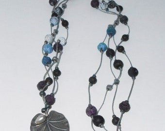 Silver Leaf Pendant on Fiber and Stone Necklace