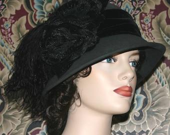 Kentucky Derby Hat Flapper Hat Wool Downton Abbey Cloche Hat Gray Gatsby Women's Black Hat  Women's Hat - Lady Marguerite