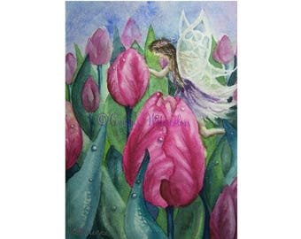 Dew Drop Fairy- Watercolor Print Pink Flower Tulip Fantasy Fairy Tale Art