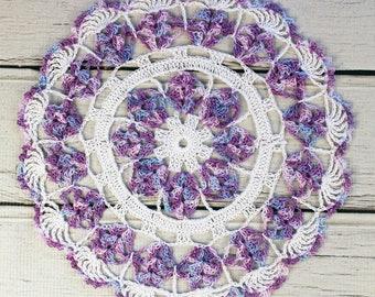 "Crocheted White Lavender Blue Violet Variegated Table Topper Doily - 10 1/2"""