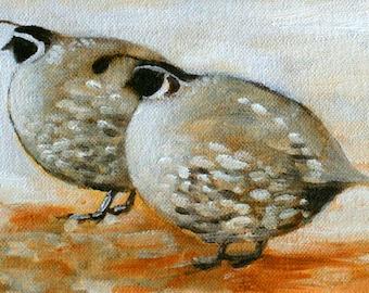 Quail Art Print - two quail - painting