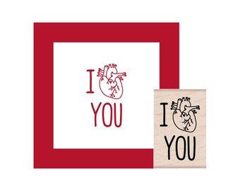 I heart you Rubber Stamp anatomical heart